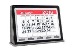 August 2018 digitaler Kalender, Wiedergabe 3D Stockbild