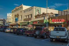 AUGUST 25, 2016 - Downtown Fairbanks street scene Second Avenue - no people at sunet - Alaskan restaurants Stock Photography