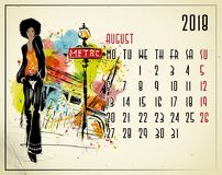 August. 2018 European calendar with fashion girl. In sketch style Royalty Free Stock Photo