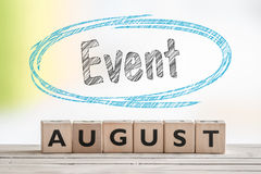August event sign on a scene Royalty Free Stock Photo