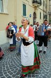 Wine festival in the medieval village of Staffolo in central Ita. 19 August 2018, Event Wine festival: musicians and people with traditional clothes in the royalty free stock photography