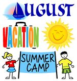 August Events Clip Art Set/eps. Illustrated clips for August including vacation, a cartoon sun, summer camp kids and an August headline with sailboat Royalty Free Stock Photography