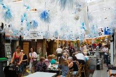 AUGUST: Festes de Gracia herein am 15 Abbildung kann als Hintergrund benutzt werden Stockbild