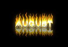August on Fire. August Text on Fire with Reflection Royalty Free Stock Photos
