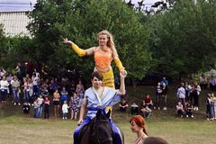 August 28, 2017: A girl dances east dance on a horse in Ukraine, Odns region, August 28, 2017 Royalty Free Stock Photography