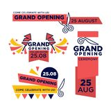 25 August grand opening ceremony bright invitations set. 25 August grand opening ceremony invitations with red ribbon and scissors that cut it, firework rockets Royalty Free Stock Images