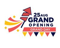 25 August grand opening day bright promotional poster. 25 August grand opening ceremony day bright promotional poster with firework rocket and colorful Stock Photography