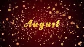 August Greeting-de glanzende deeltjes van de kaarttekst voor viering, festival vector illustratie