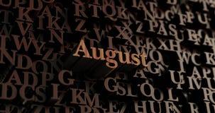 August - hölzernes 3D übertrug Buchstaben/Mitteilung Stockfotos