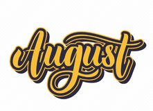 August Hand Drawn Lettering illustration stock