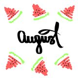 August Handwritten inscription green red sliced watermelons. Calligraphic handdrawn quote white isolated background. Fruit slice stock photography