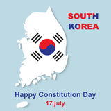 15 August Happy Constitution Day South Korea. 15 August Happy Constitution Day. South Korea map vector illustration Stock Image