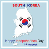 15 August Happy Independence Day South Korea. 15 August Happy Independence Day. South Korea map vector illustration Stock Images