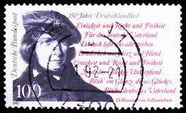 August Heinrich Hoffman von Fallersleben, 150th Anniversary of Song of the Germans national anthem serie, circa 1991. MOSCOW, RUSSIA - FEBRUARY 21, 2019: A stamp royalty free stock photo