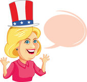 August 17, 2016 Hillary Clinton Cartoon with Speech Bubble. Funny illustration of the American Presidential Candidate in Election Debate royalty free illustration