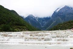 The scenery of baishui river, jade dragon snow mountain, lijiang, yunnan, China stock photos