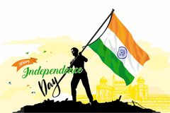 15 august independence day. Freedom in india vector illustration