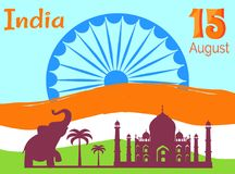 15 August Independence Day in India Holiday Poster. With national flag, Asian elephant, tall palms and Taj Mahal silhouettes vector illustrations Stock Image