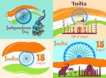 15 August Independence Day in India Posters Set. 15 August Independence Day in India posters with national flag and country animalistic and architectural symbols Royalty Free Stock Photography