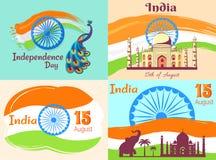 15 August Independence Day nos cartazes da Índia ajustados ilustração stock