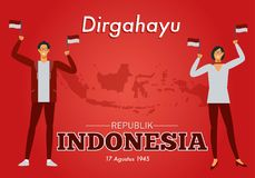 Vector illustration of Independence Day Republic of Indonesia. vector illustration