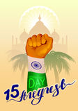 August 15 India Independence Day. Hand fist symbol of Indian flag Stock Photography
