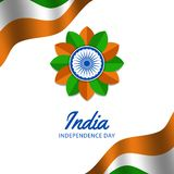 15 august india independence day with waving flaw, ashoka wheel. Green orange color. decoration poster banner template vector illustration