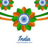 15 august india independence day with waving flaw, ashoka wheel. Green orange color. decoration poster banner template stock illustration