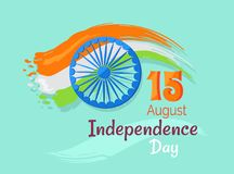 15 August Indian Independence Day Greeting Poster. 15 August Indian Independence Day greeting vector poster in graphic design with colorful national flag and Stock Images
