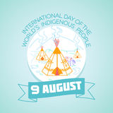 9 august Indigenous People. Calendar for each day on august 9. Greeting card. Holiday - International Day of the World& x27;s Indigenous People. Icon in the vector illustration