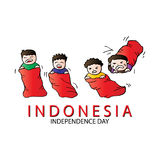 17 August Indonesian Game traditional. Sack race Royalty Free Stock Photography