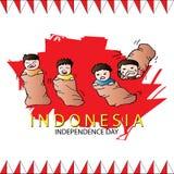 17 August Indonesian Game tradizionale Corsa di sacco illustrazione di stock