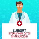 8 August International-dag van oftalmologie Medische vakantie Vectorgeneeskundeillustratie Royalty-vrije Stock Afbeelding