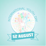 12 august International Youth Day. Calendar for each day on august 12. Greeting card. Holiday - International Youth Day. Icon in the linear style Stock Illustration