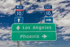 AUGUST 23, 2017 - Interstate 10 highway signs to and from Phoenix and Los Angeles,. West, California. AUGUST 23, 2017 - Interstate 10 highway signs to and from stock photography