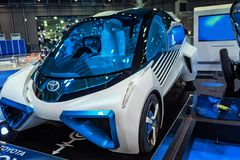 August, Japan, Tokyo.2018, Auto exhibition of cars of the future. The car of the future is blue. Auto car exhibition. Auto of the royalty free stock photos