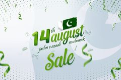 14 August Jashn-e-azadi Mubarak Pakistan Independence Day Sale Banner vector illustration