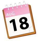 august kalender Royaltyfria Bilder