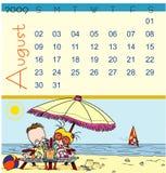 august kalender 2009 Arkivfoto