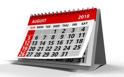 August 2018 Kalender Stockfoto