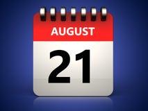 august kalender 3d 21 Arkivbild