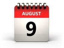 am 9. August Kalender 3d Stockbilder
