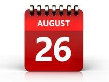 august kalender 3d 26 royaltyfri illustrationer