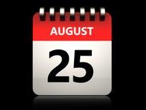 am 25. August Kalender 3d Lizenzfreies Stockfoto
