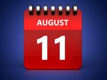 am 11. August Kalender 3d Lizenzfreie Stockfotografie