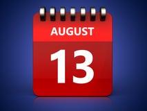 am 13. August Kalender 3d Lizenzfreie Stockbilder