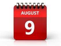 am 9. August Kalender 3d Lizenzfreie Stockfotografie