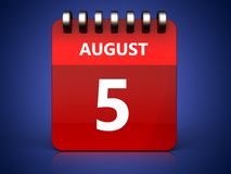 am 5. August Kalender 3d Stockfotos