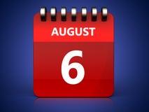 am 6. August Kalender 3d Lizenzfreie Stockbilder