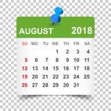 August 2018 Kalender Kalenderaufkleber-Designschablone Woche sta Stockbild